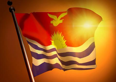 Winner waving Kiribati flag against the sunset