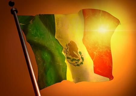Winner waving Mexico flag against the sunset
