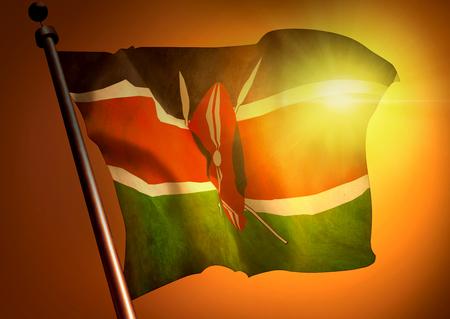 Winner waving Kenya flag against the sunset 版權商用圖片