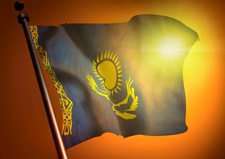 Winner waving Kazakhstan flag against the sunset