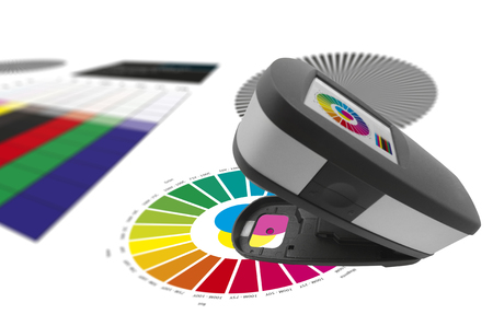 Print control, spectrophotometer check color patches quality