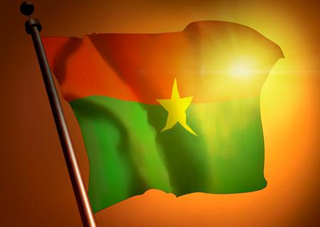 winner waving Burkina Faso flag against the sunset 版權商用圖片
