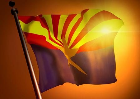 winner waving Arizona flag against the sunset
