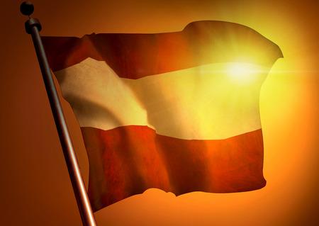 winner waving Austria flag against the sunset