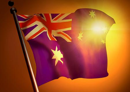 winner waving Australia flag against the sunset