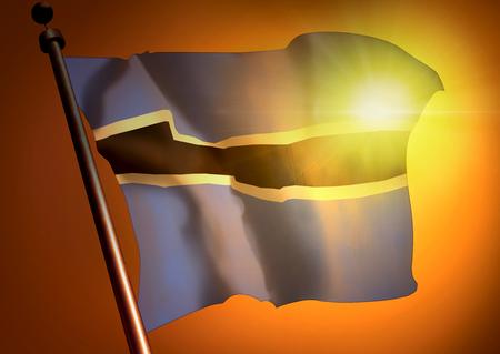 winner waving Botswana flag against the sunset