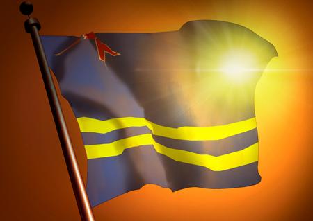 winner waving Aruba flag against the sunset