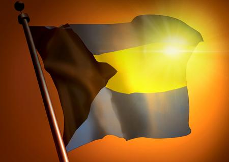 winner waving Bahamas flag against the sunset