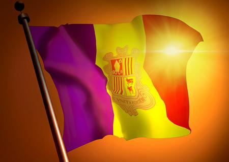 winner waving Andora flag against the sunset 版權商用圖片