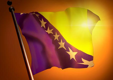 winner waving Bosnia and Herzegovina flag against the sunset