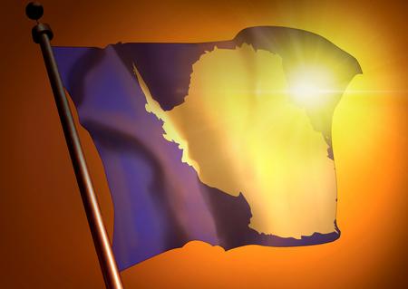 winner waving Antarctica flag against the sunset 版權商用圖片