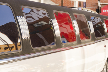 White luxury limousine detail