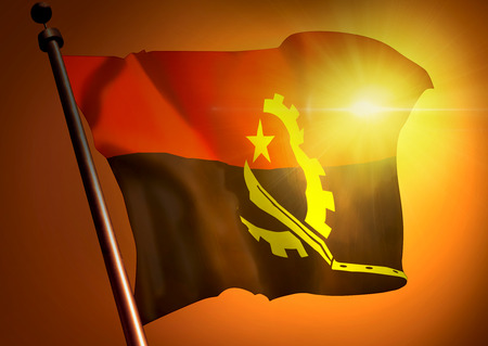winner waving Angola flag against the sunset
