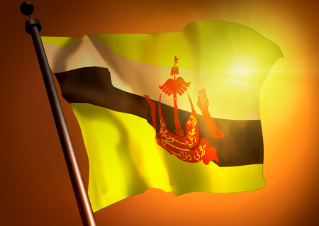 winner waving Brunei Darussalam flag against the sunset