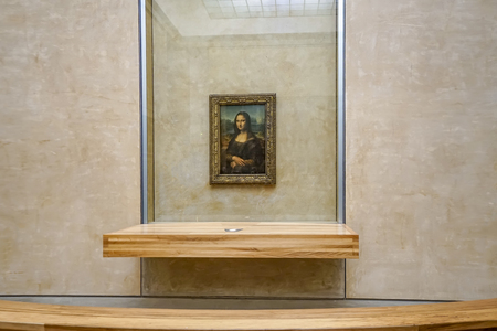 Paris, France - circa May, 2017: The most famous painting and Leonardo DaVincis Mona Lisa at the Louvre Museum
