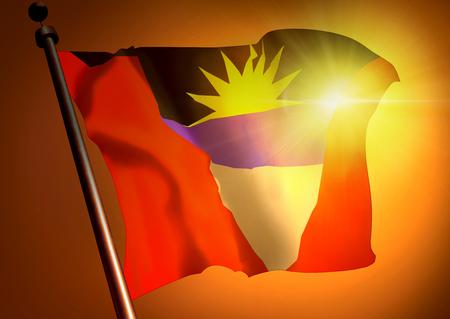 winner waving Antigua and Barbuda flag against the sunset