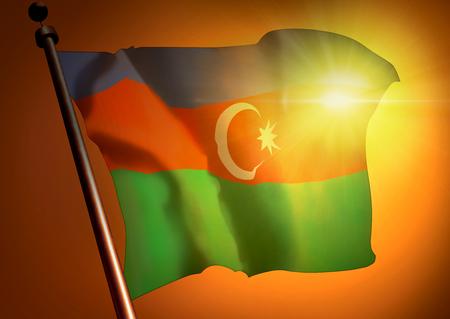 winner waving Azerbaijan flag against the sunset 版權商用圖片
