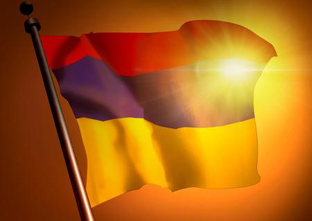 winner waving Armenia flag against the sunset 版權商用圖片