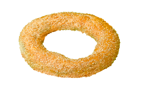 sesame bagel isolated on white, clipping path included Фото со стока - 120404901