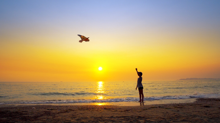 Silhouette of young boy with hat flying a kite on an empty beach backlit by summer sunset sun, cinematic footage Фото со стока - 120406841