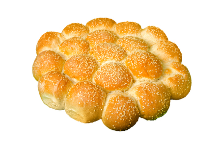 stack buns pie with sesame seeds  isolated on white, clipping path included Фото со стока - 120418712