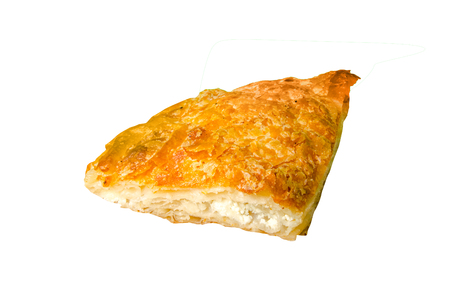 Burek with feta cheese, a traditional Balkan food isolated on white, clipping path included Zdjęcie Seryjne