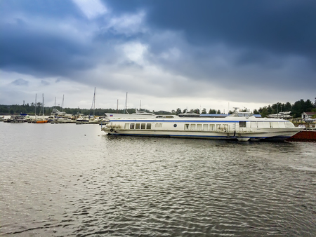 Passenger ship on Valaam in Russia Standard-Bild