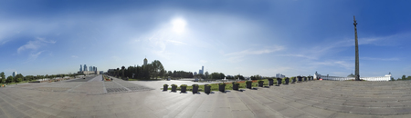 Panorama of Victory monument in a bright sunny day in the Moscow Victory Park - Poklonnaya Hill
