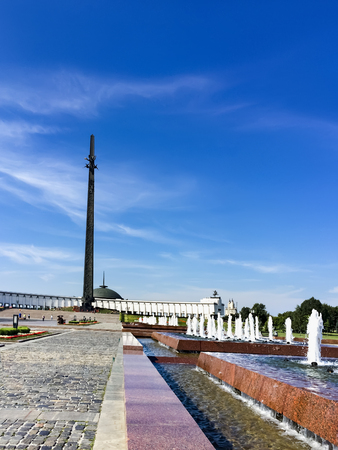 Fountains in the Memorial complex on Poklonnaya hill in Moscow. Victory monument, a stele in the form of a triangular bayonet and the great Patriotic war Museum in Victory Park Редакционное