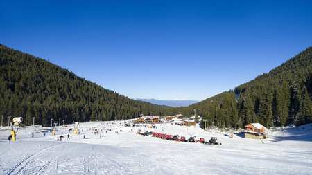 World ski cup resort Bansko, Bulgaria at Banderitsa slope