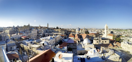 Panorama of Jerusalem. Roofs of Old City with Holy Sepulcher Church Dome, Jerusalem, Israel