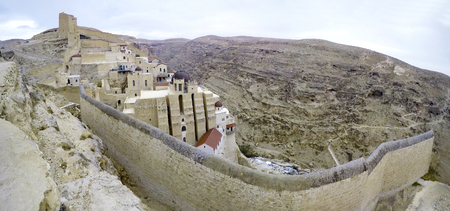 Mar Sabas Monastery, the Kidron Valley, and the surrounding area, panorama Фото со стока