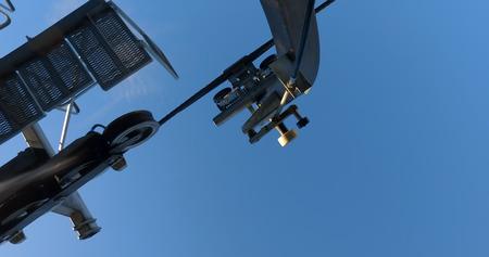 Close up at a gondola cable car mechanism detail