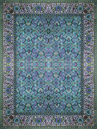 Persian Carpet Texture, abstract ornament. Round mandala pattern, Middle Eastern Traditional Carpet Fabric Texture. Turquoise milky blue grey brown yellow red