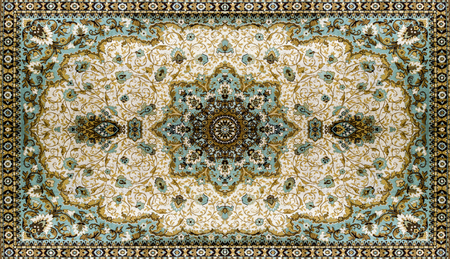 Persian Carpet Texture, abstract ornament. Round mandala pattern, Middle Eastern Traditional Carpet Fabric Texture. Turquoise milky blue grey brown yellow colored Stockfoto