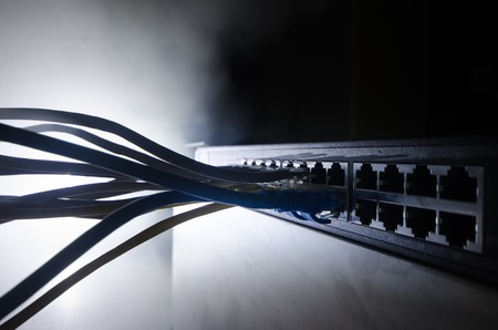 Network Switch And Ethernet Cables Symbol Of Global Communications