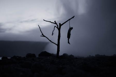 밤 (밤)에 나무에 교수형 된 여자의 공포보기 자살 장식입니다. 죽음의 처벌 처형이나 자살 추상 아이디어. 다른 배경 장식