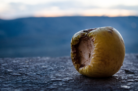 Rotten apple on a sunset background Stock Photo