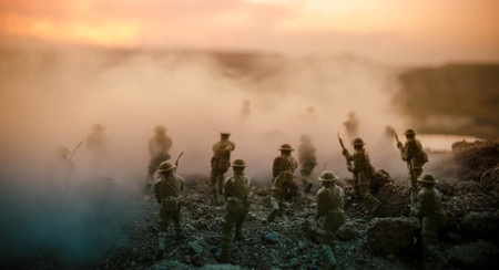 War Concept. Military silhouettes fighting scene on war fog sky background, World War Soldiers Silhouettes Below Cloudy Skyline At night. Attack scene. Armored vehicles. Tanks battle. Decoration Reklamní fotografie - 83465899