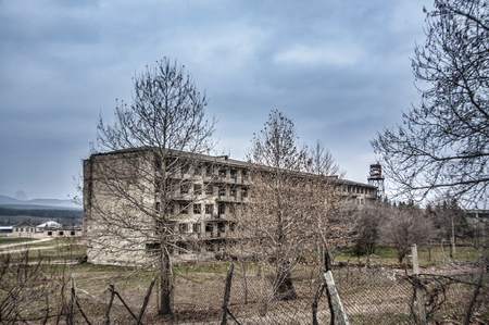 Abandoned military living building in Gazakh. Old building in North of Azerbaijan near border