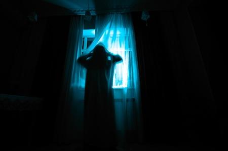 Horror vrouw in venster hout hand houden kooi enge scène halloween concept Wazig silhouet van heks. Horror thema Stockfoto