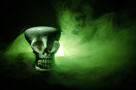 Scary skull on toned light dark background. Design for Halloween background or horror theme Stock Photo