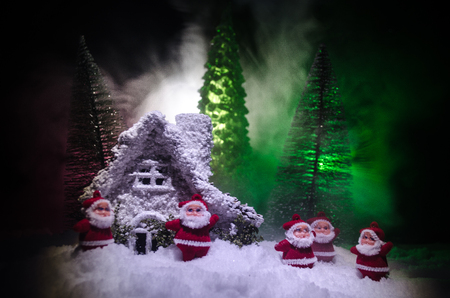 Santas house. The home of Father Frost, Santa Claus, Joulupukki, and other legendary heroes of the winter holidays. A cozy little house in wild mountains and forests store a lot of magical