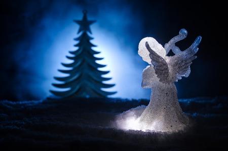 christmas angel glass xmas figure and glass fir tree christmas tree docorative elements on