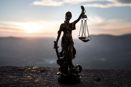 The Statue of Justice - lady justice or Iustitia  Justitia the Roman goddess of Justice Stock Photo
