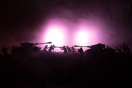 War Concept. Military silhouettes fighting scene on war fog sky background Stock Photo - 95743808