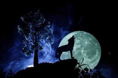 Sagoma di lupo che ulula contro scuro nebbioso sfondo nebbioso e luna piena o lupo in sagoma che ulula alla luna piena. Concetto di Halloween horror. Messa a fuoco selettiva Archivio Fotografico - 99427576