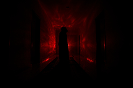 Creepy silhouette in the dark abandoned building. Horror about maniac concept or Dark corridor with cabinet doors and lights with silhouette of spooky horror person standing with different poses.