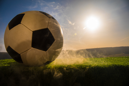 soccer ball on soccer field. Football on green grass. Sunny background. Selective focus Stock Photo