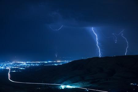 Summer storm bringing thunder, lightnings and rain. Baku. Azerbaijan